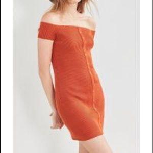 Button-Down Off-The-Shoulder Dress